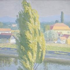 Vuics István: Elefánti tó környéke (év nélkül), olaj, farost, 48x60 cm