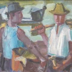 Vuics István: Halászok (év nélkül), olaj, farost, 50x70 cm