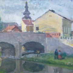 Vuics István: Kőhíd (év nélkül), olaj, vászon, 60x80 cm