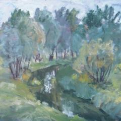 Vuics István: Zagyva a fák között (év nélkül), olaj, vászon, 60x80 cm