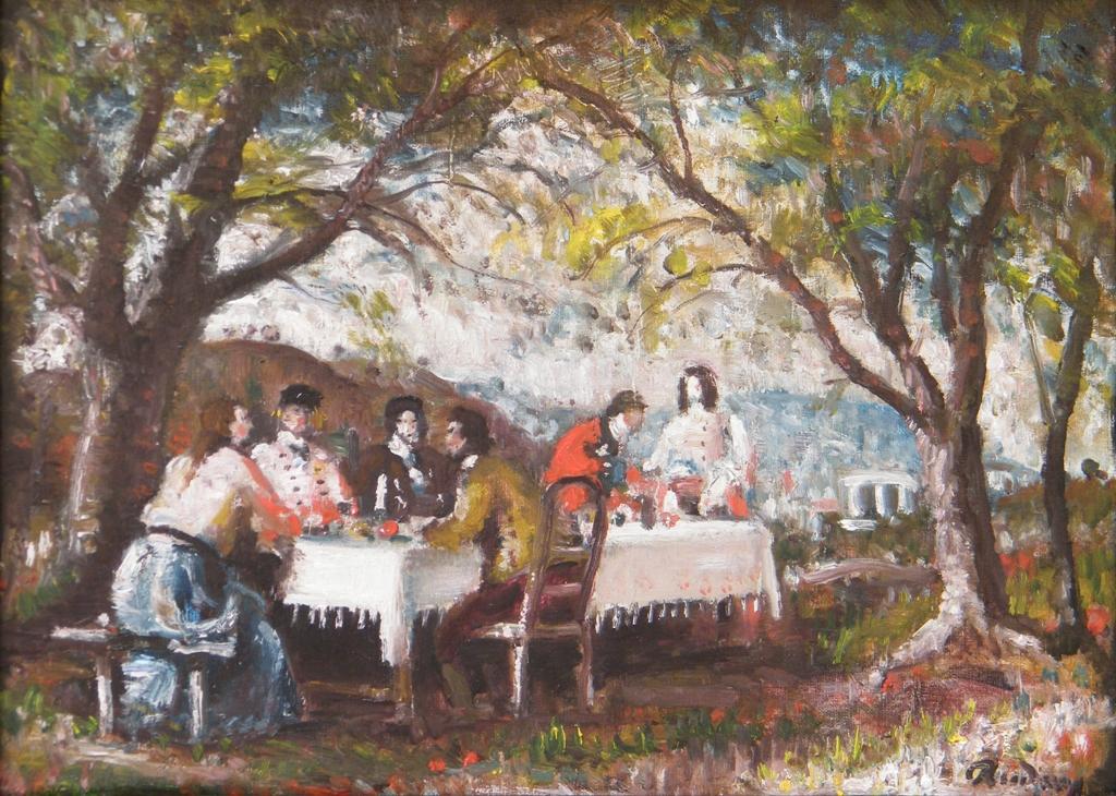 Rudnay Gyula - Asztaltársaság a szabadban - ov - 40,5x50,5 cm